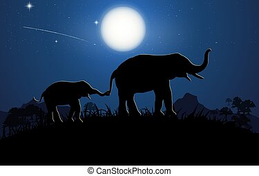 silhouette image Black elephant walking at the forest with mountain and Moon background Evening light vector Illustration