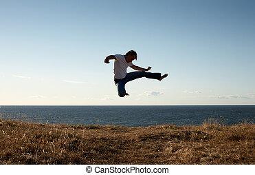 jump-kick - silhouette image of martial arts master...
