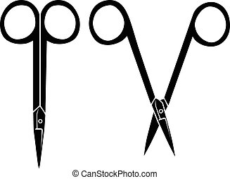 Silhouette image of opening and closing nail scissors