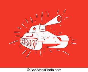silhouette, image., tank., mano, vettore, disegnato, soviet