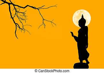 silhouette, immagine, budda