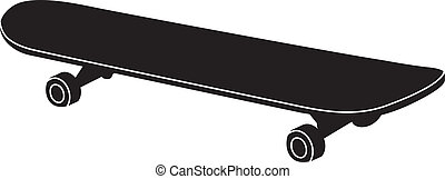 silhouette in black of a skateboard - typical adult size...
