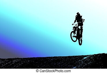 Silhouette in blues - Silhouette of dirt bike rider with a...