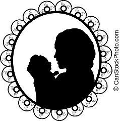 Silhouette in frame happy mother holding newborn little baby