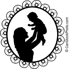 Silhouette in frame mother holding newborn baby in air