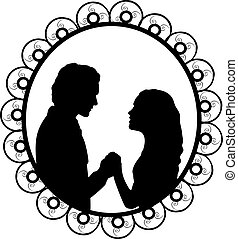 Silhouette in frame of lovers man and woman holding hands. Illustration symbol icon