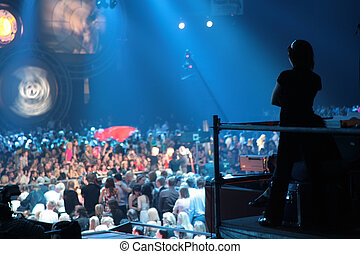 silhouette, in, nachtclub
