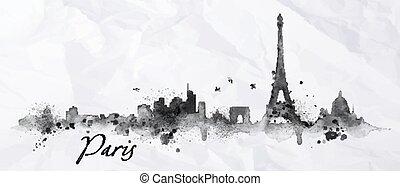 silhouette, inchiostro, parigi