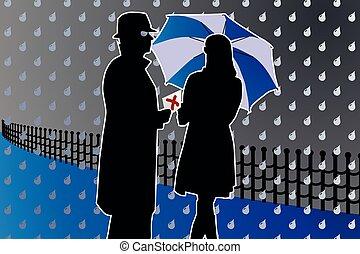 inspector spy mysterious twilight meeting night rain