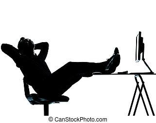 silhouette, informatique, calculer, homme, business, délassant, une