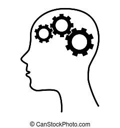 silhouette, ingranaggio, idea, isolato, cervello, umano