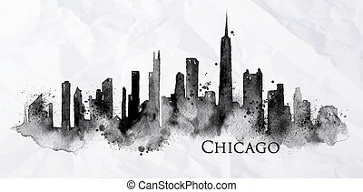 Silhouette ink Chicago - Silhouette of Chicago city painted...