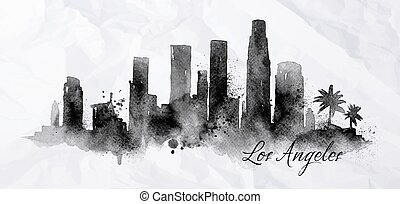 Silhouette of Los Angeles city painted with splashes of ink drops streaks landmarks drawing in black ink on crumpled paper
