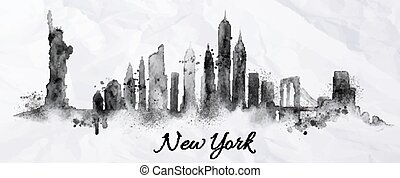Silhouette ink New york - Silhouette New york city painted...