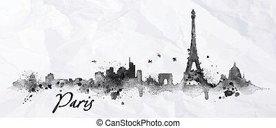 Silhouette Paris city painted with splashes of ink drops streaks landmarks drawing in black ink on crumpled paper