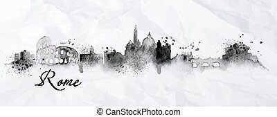 Silhouette ink Rome - Silhouette Rome city painted in ink...