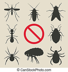 silhouette insects set - vector illustration. eps 8