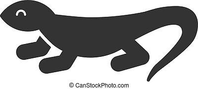 silhouette, isolé, arrière-plan., lézard, noir, lizard., blanc, icône