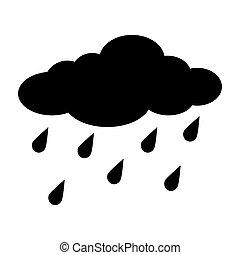 silhouette, isolé, pluie, fond, blanc, gouttes, dessin animé, nuage