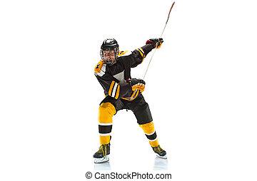 silhouette, isolé, une, joueur, studio, hockey, fond, caucasien blanc, homme