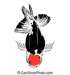 silhouette, isolated., carpe, vecteur, noir, poisson rouge