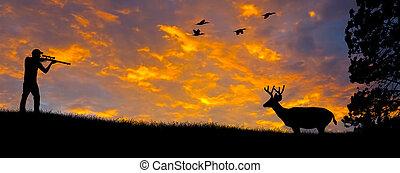 silhouette, jacht, geweer