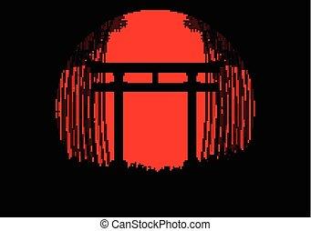 silhouette, japanisches , schwarzwald, hintergrund, tor, bambus, sonnenaufgang