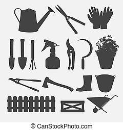 silhouette, jardinage, vecteur, outils