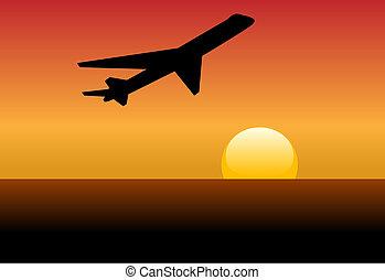 silhouette, jet, coucher soleil, ligne aérienne, décollage, aube, ou