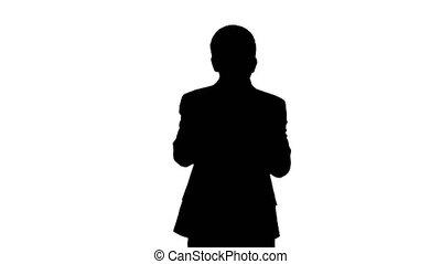 silhouette, jeu trompette, jeune, quoique, complet, homme, marche.