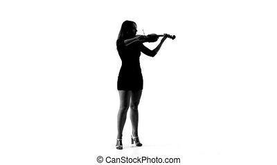 silhouette, jeune, talons, violon, girl, jouer
