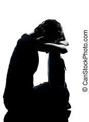 silhouette, jeune, triste, adolescent, pleurer, girl, une