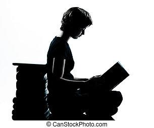silhouette, jeune, une, adolescent, lecture fille, caucasien