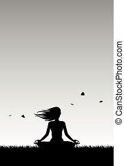 silhouette, joga