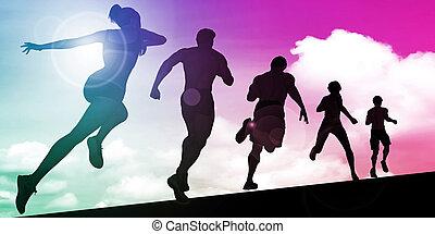 silhouette, jogger