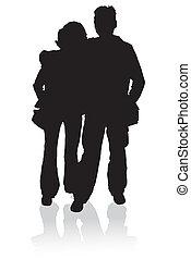 silhouette, jonge familie, vrolijke