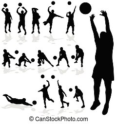 silhouette, joueur volley-ball, divers, noir, poses
