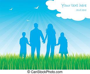 silhouette, jour ensoleillé, famille