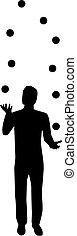 silhouette, juggling, man