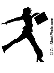Silhouette Jumping - Silhouette over white with clipping ...