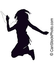 Silhouette over white with clipping path. Teen girl with digital music video player jumping.