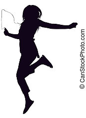 Silhouette over white with clipping path. Teen jumping while listening to digital music player,