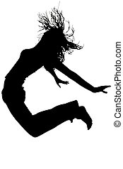 Silhouette Jumping - Silhouette over white with clipping...