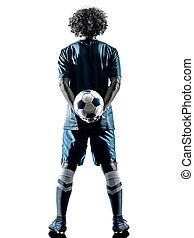 silhouette, junger, freigestellt, spieler, teenager, fußball, mann