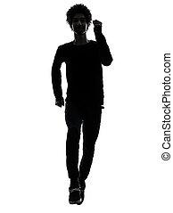 silhouette, junger, rennender , afrikanischer mann, hübsch