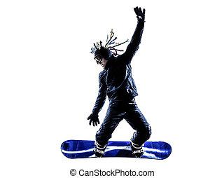 silhouette, junger, snowboarder, mann