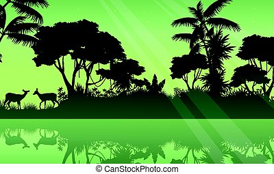 Silhouette jungle and lake scenery