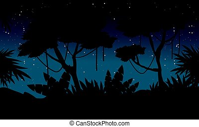 Silhouette jungle at night with big tree landscape