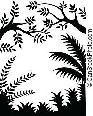 silhouette, jungle