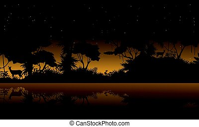 Silhouette jungle with lake beauty landscape